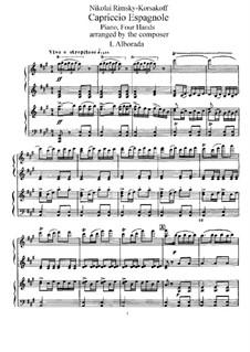 Испанское каприччио, Op.34: Для фортепиано в четыре руки by Николай Римский-Корсаков