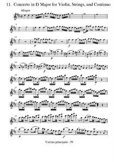 Концерт для скрипки с оркестром No.11 ре мажор, RV 210: Партии by Антонио Вивальди