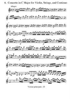 Концерт для скрипки с оркестром No.6 до мажор 'Il piacere', RV 180: Партии by Антонио Вивальди