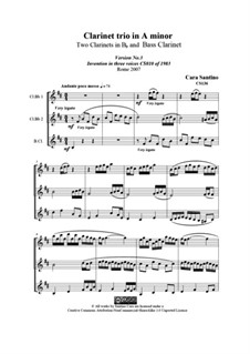 Clarinet trio in A minor, CS136: Clarinet trio in A minor by Santino Cara