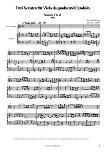 Drei Sonaten für Viola da gamba und Cembalo, Op.159: Партитура by Klaus Miehling