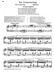 Шесть этюдов, Op.50: No.2 Бабочка by Иоганн Петер Эмилиус Хартман
