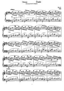 Этюд для фортепиано, Op.12: Этюд для фортепиано by Анатолий Лядов