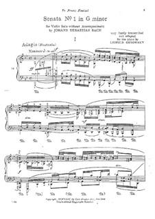 Соната для скрипки No.1 соль минор, BWV 1001: Часть I. Переложение для фортепиано by Иоганн Себастьян Бах