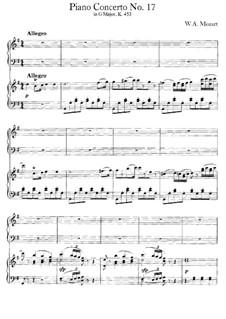 Концерт для фортепиано с оркестром No.17 соль мажор, K.453: Аранжировка для 2 фортепиано в 4 руки by Вольфганг Амадей Моцарт