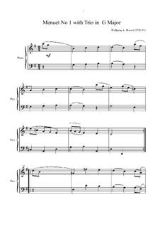 Менуэт для фортепиано соль мажор, K.1/1e: Для одного исполнителя by Вольфганг Амадей Моцарт