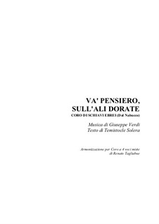 Va' Pensiero (Chorus of the Hebrew Slaves): For SATB choir by Джузеппе Верди