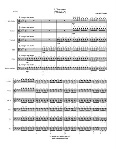 Концерт для скрипки с оркестром No.4 фа минор 'Зима', RV 297: Партитура, Партии by Антонио Вивальди