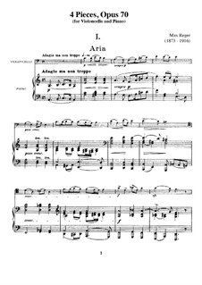 Четыре пьесы для виолончели и фортепиано, Op.70: Партитура by Макс Брух