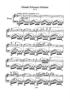 Andante spianato and Grand Brilliant Polonaise, Op.22: Для фортепиано (с аппликатурой) by Фредерик Шопен