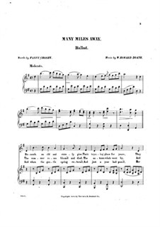 Many Miles Away, for Voices and Piano: Many Miles Away, for Voices and Piano by William Howard Doane