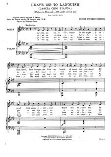 Дайте мне слезы: Для голоса и фортепиано (ре-бемоль мажор) by Георг Фридрих Гендель