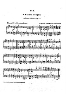 Три героических марша для фортепиано в четыре руки, D.602 Op.27: Аранжировка для фортепиано by Франц Шуберт