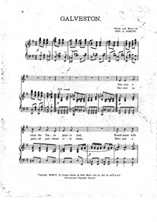 Galveston, for Voice and Piano: Galveston, for Voice and Piano by George A. Norton
