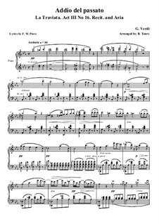 Addio del passato: For voice and piano (Italian text) by Джузеппе Верди