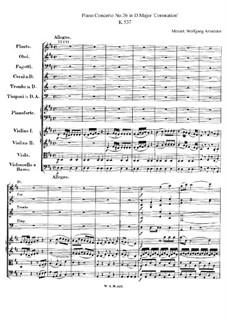 Концерт для фортепиано с оркестром No.26 ре мажор 'Коронационный', K.537: Партитура by Вольфганг Амадей Моцарт