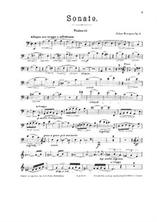 Соната для виолончели и фортепиано No.2, Op.41: Сольная партия by Юлиус Рентген