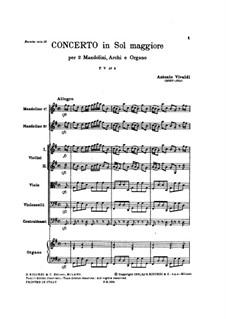 Концерт для двух мандолин и струнных соль мажор, RV 532: Партитура by Антонио Вивальди