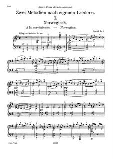 Две мелодии для струнного оркестра, Op.53: Версия для фортепиано by Эдвард Григ
