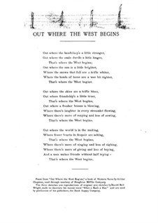 Out Where the West Begins, for Voice and Piano: Out Where the West Begins, for Voice and Piano by Estelle Philleo