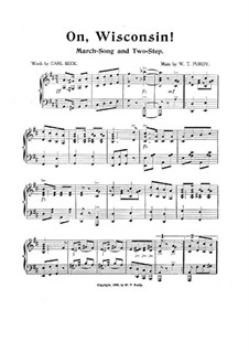 On, Wisconsin: Для фортепиано by William Thomas Purdy