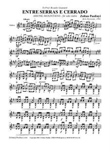 Entre serras e cerrado (Among Mountains) for solo violin (with version for viola). 1994: Entre serras e cerrado (Among Mountains) for solo violin (with version for viola). 1994 by Zoltan Paulinyi