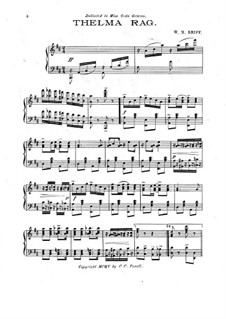 Thelma Rag for Piano: Thelma Rag for Piano by W. M. Reiff