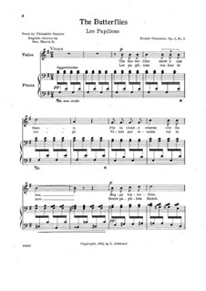 Семь мелодий для голоса и фортепиано, Op.2: No.3 Les papillons by Эрнест Шоссон