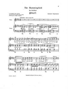 Семь мелодий для голоса и фортепиано, Op.2: No.7 Колибри by Эрнест Шоссон