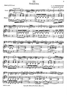Сонатина фа мажор: Версия для скрипки и фортепиано by Людвиг ван Бетховен