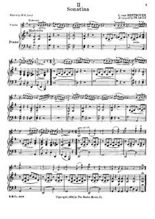 Сонатина соль мажор: Версия для скрипки и фортепиано by Людвиг ван Бетховен