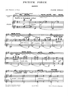 Маленькая пьеса для кларнета и фортепиано, L.120: Партитура by Клод Дебюсси