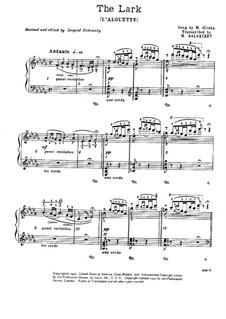 Прощание с Петрбургом : No.10 Жаворонок by Михаил Глинка