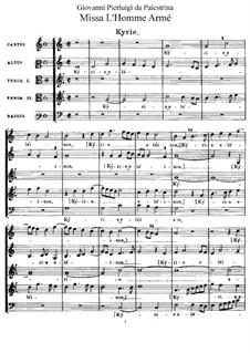 Missa L'homme armé: Missa L'homme armé by Джованни да Палестрина