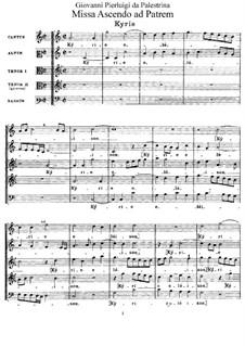 Missa Ascendo ad Patrem: Вокальная партитура by Джованни да Палестрина