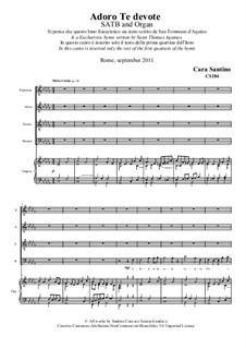 Adoro Te devote. SATB and organ: Adoro Te devote. SATB and organ by Santino Cara