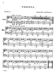 Венеция (Вальс): Для фортепиано by Caroline Lowthian