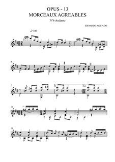 Morceaux agréables non difficiles, Op.13: No.6 Andante by Дионисио Агуадо