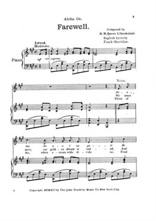 Aloha 'Oe: Для голоса и фортепиано (A Major) by Лидия Лилиуокалани