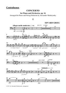 Концерт для фортепиано с оркестром ля минор, Op.16: Version for piano and strings - contrabasses part by Эдвард Григ