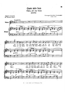 Caro mio ben (O Maiden Dear): Для голоса и фортепиано by Томмазо Джордани