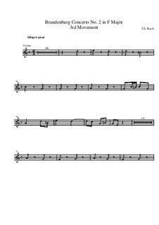 Бранденбургский концерт No.2 фа мажор, BWV 1047: Часть III – партия второй скрипки рипиено by Иоганн Себастьян Бах