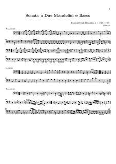 Соната для двух мандолин и бассо континуо соль мажор: Партия бассо континуо by Эмануэле Барбелла