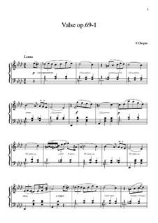Вальсы, Op. posth.69: No.1 ля-бемоль мажор (ноты высокого качества) by Фредерик Шопен