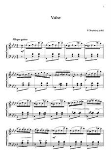 Вальс ля-бемоль мажор, B.21 KK IVa/13: Для фортепиано (ноты высокого качества) by Фредерик Шопен
