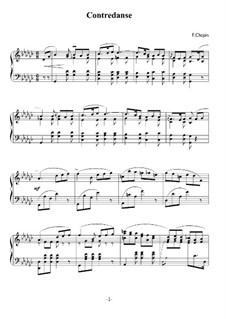 Контрданс соль-бемоль мажор, B.17: Для фортепиано (ноты высокого качества) by Фредерик Шопен
