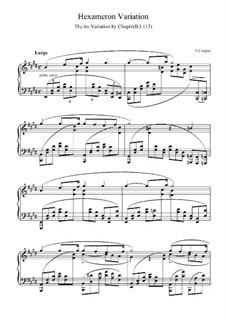Вариация No.6 ми мажор из Гексамерона, B.113 S.2/2: Для фортепиано (ноты высокого качества) by Фредерик Шопен