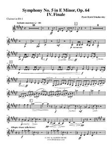 Часть IV: Кларнет in B 1 (транспонированная партия) by Петр Чайковский
