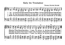 Gaily the Troubadour: Ми-бемоль мажор by Thomas Haynes Bayly