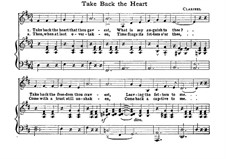Take Back the Heart: Для голоса и фортепиано (D Major) by Claribel